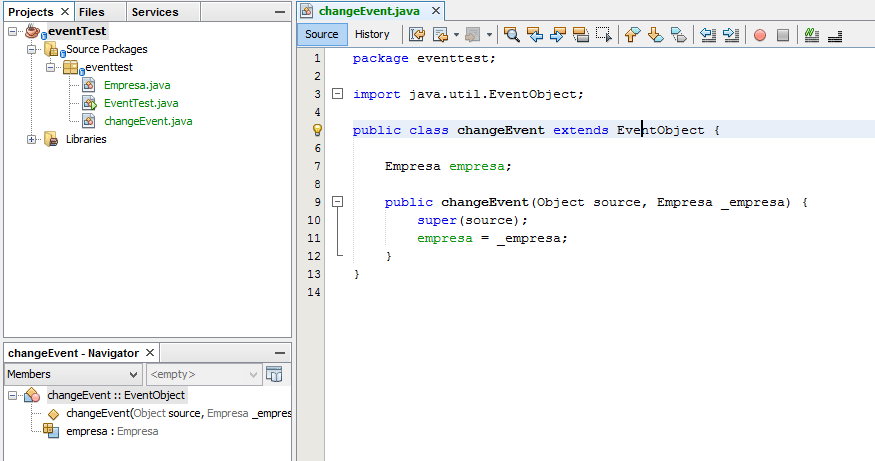 creacion de eventos en Java